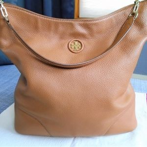 Tory Burch Thea Whipstitch Logo Hobo Bag Bark